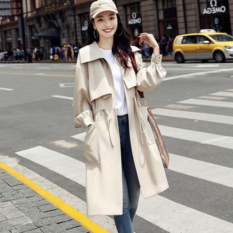 New With Lined Trench Coats Spring Autumn Fashion Casual Windbreakers Womens Long Slim Overcoat Pock