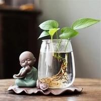 terrarium hydroponic plant vases creative monk buddha figures flower pot transparent glass vase tabletop plant home bonsai decor