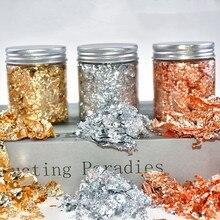 3g Imitation Gold Sliver Copper Foil Sequins Glitters Craft Leaf Flake Sheets Bulk Foil Paper For Gi