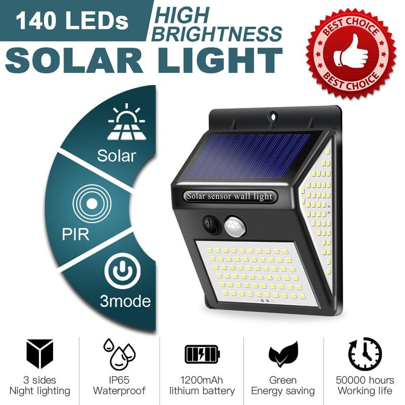 100 ~ 150 светодиодный солнечный светильник уличный светильник на солнечной энергии с движения PIR Сенсор уличный фонарь на солнечных батареях ...
