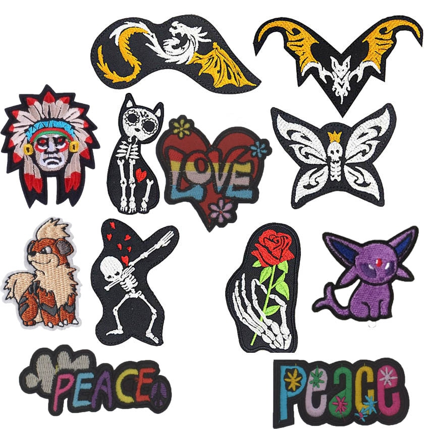 Skull Flower Skeleton Cat Patches Rainbow Peace Iron On Embroidered Appliques DIY Apparel Accessories For Clothing Fabric Badges