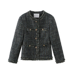 spring lady short coat jacket gold button blue knitting knitted woven casual coat 2021 fashion