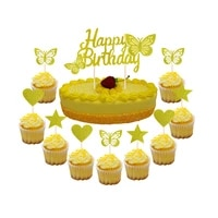 3d happy birthday cake decoration cake toppers flag butterfly star kids birthday party boy girl baby shower wedding decor
