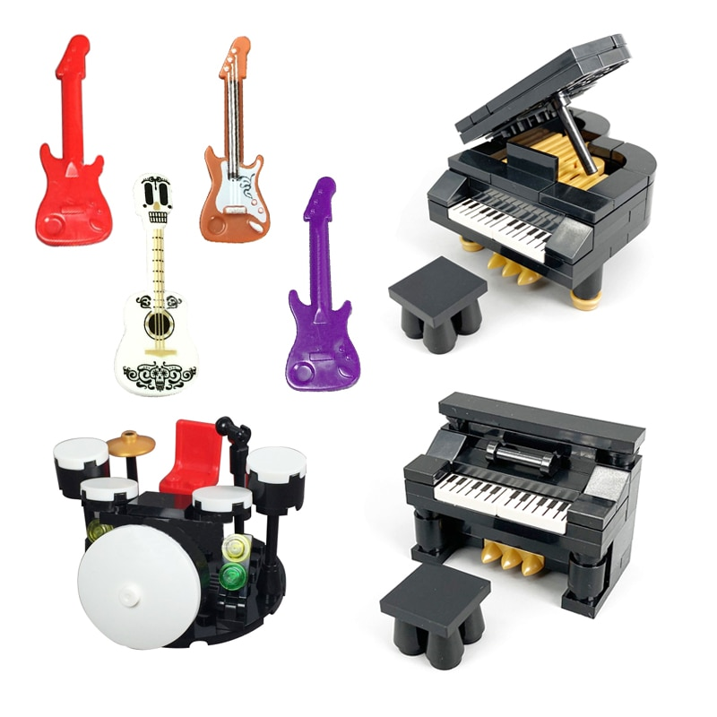 Accessories Building Blocks Moc Musical Instrument Series Guitar Piano Drum Kit for Children Toy
