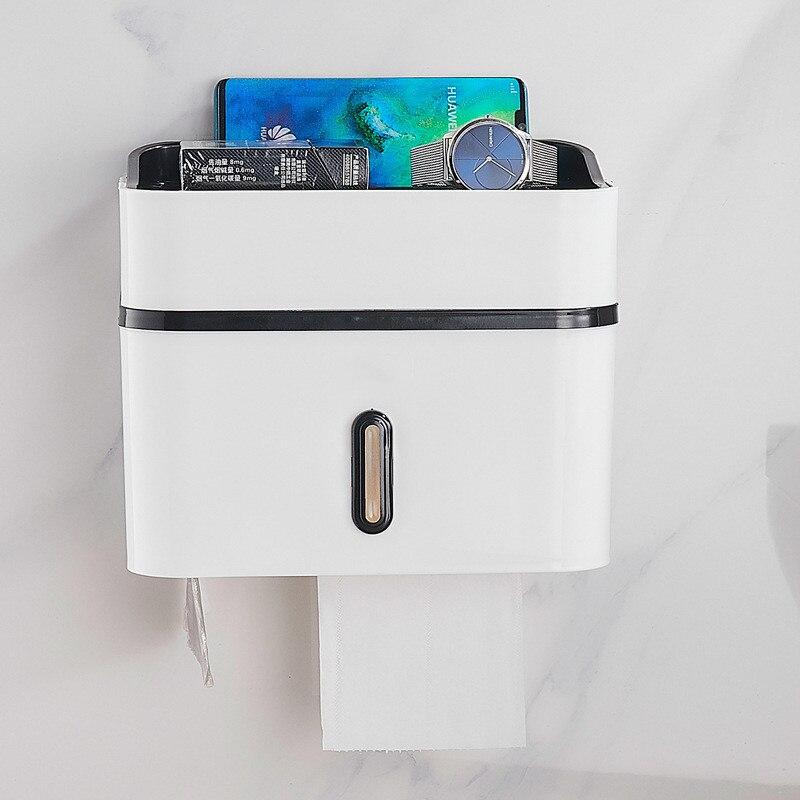 Toallero de papel no perforado de plástico para baño, rollo de bombeo de papel higiénico, bandeja de mano, caja de pañuelos de papel higiénico