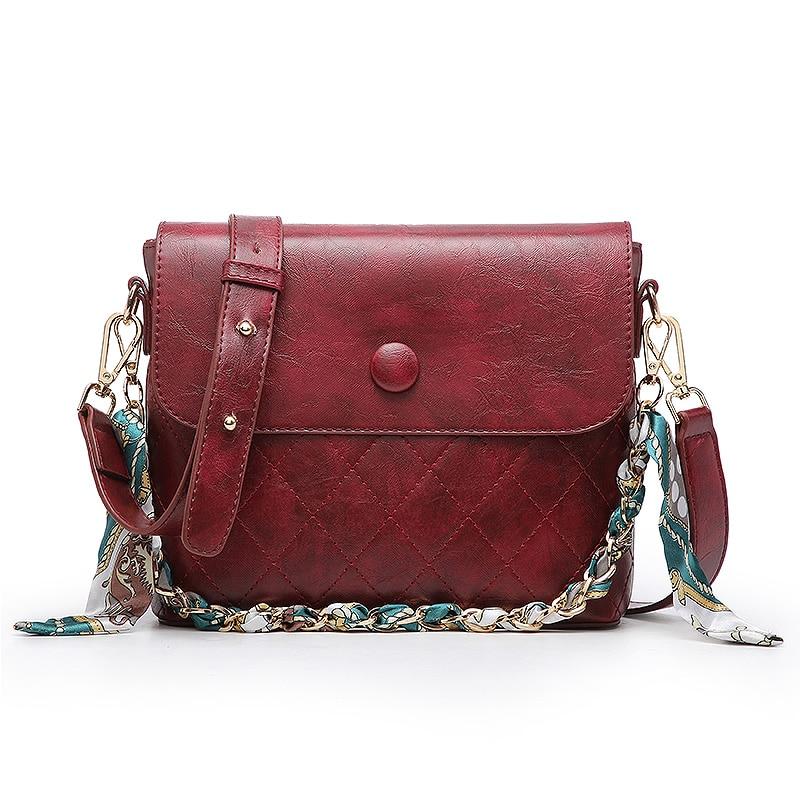 New Fashion Leather Chain Scarf Shoulder Bag Luxury Women Bag Oil Wax Messenger Crossbody Bag for Women