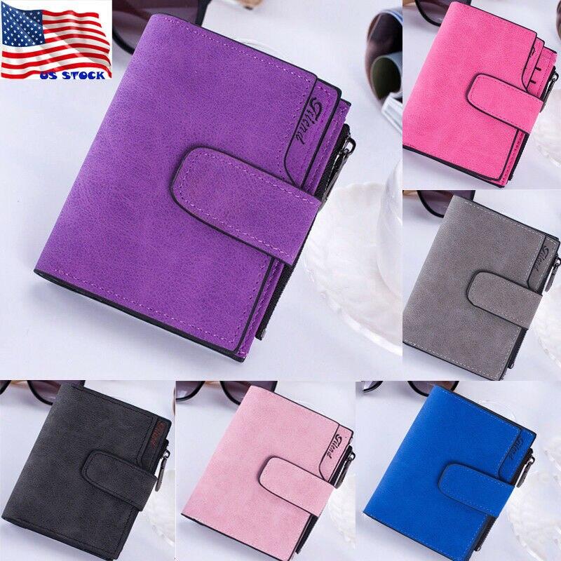 Cartera de cuero con cremallera para mujer a la moda monedero bolso de mano pequeño Mini tarjetero negro rosa azul rojo púrpura marrón