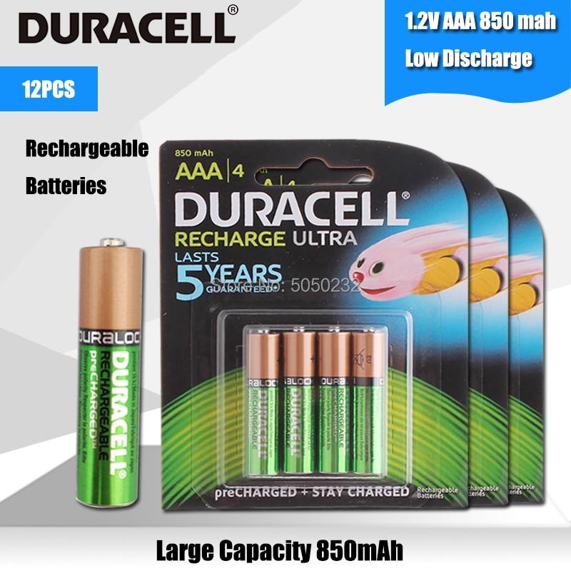 12 Uds. DURACELL Original AAA 1,2 V 850mAh para linterna cámara de juguete precargada baterías recargables de alta capacidad