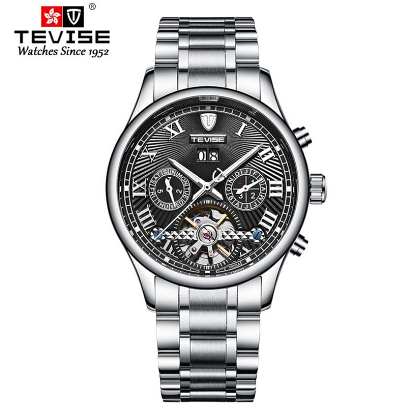 Fashion Casual TEVISE Tourbillon Mechanical Business Watches Men's Stainless Steel Real Tourbillon M