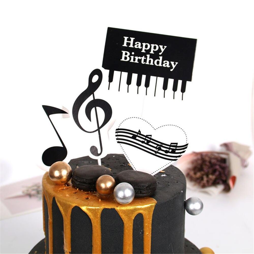 1 ensemble Piano musique thème gâteau Topper joyeux anniversaire Cupcake gâteau Topper fête décoration fournitures gâteau bricolage accessoires