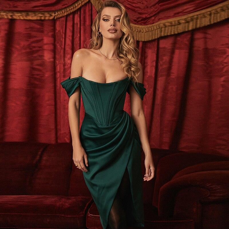 Split Summer Long Dresses Solid Backless Off Shoulder Dress Elegant for Holiday Fashion Women Casual