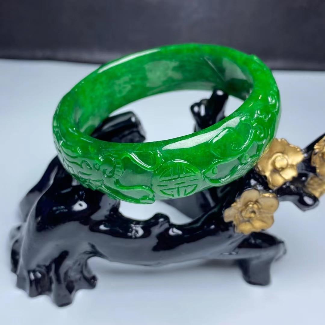 Get Natural 7A green jade bangles hollow handcarved jadeite bracelets jade bangles jade jewelry bracelets for women charm bracelet