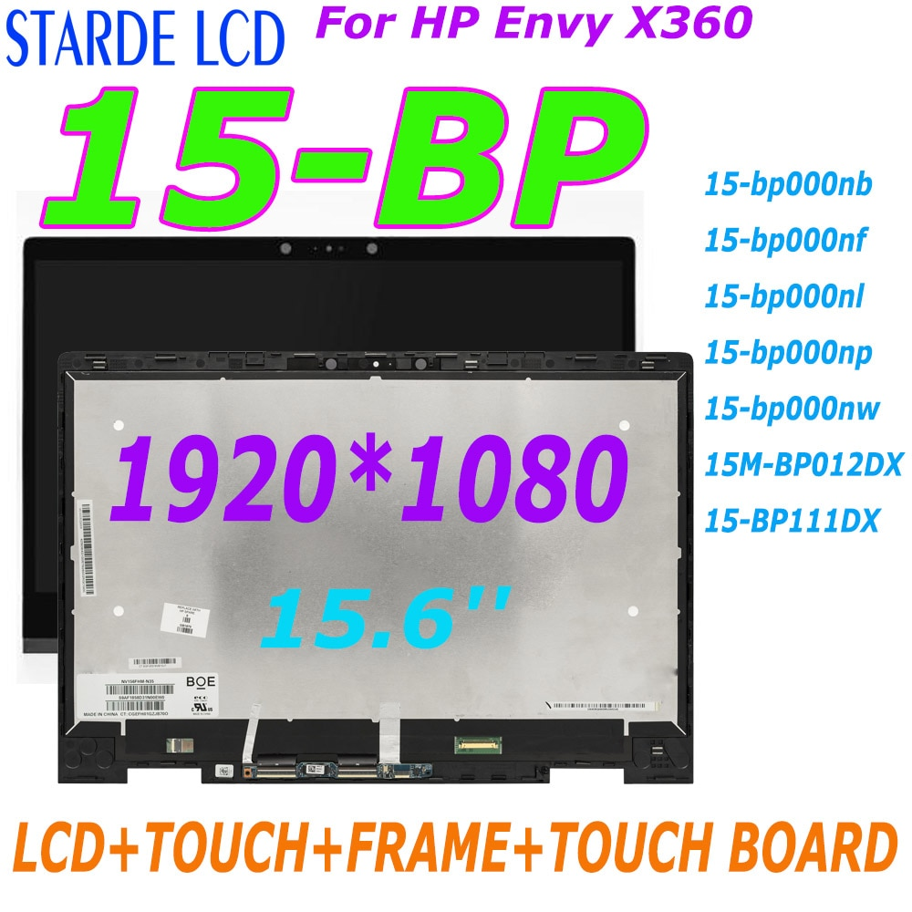 15.6'' For HP Envy X360 15-BP 15M-BP series 15M-BP012DX BP111DX laptop LCD Touch Screen Digitizer Assembly+Frame Replacement