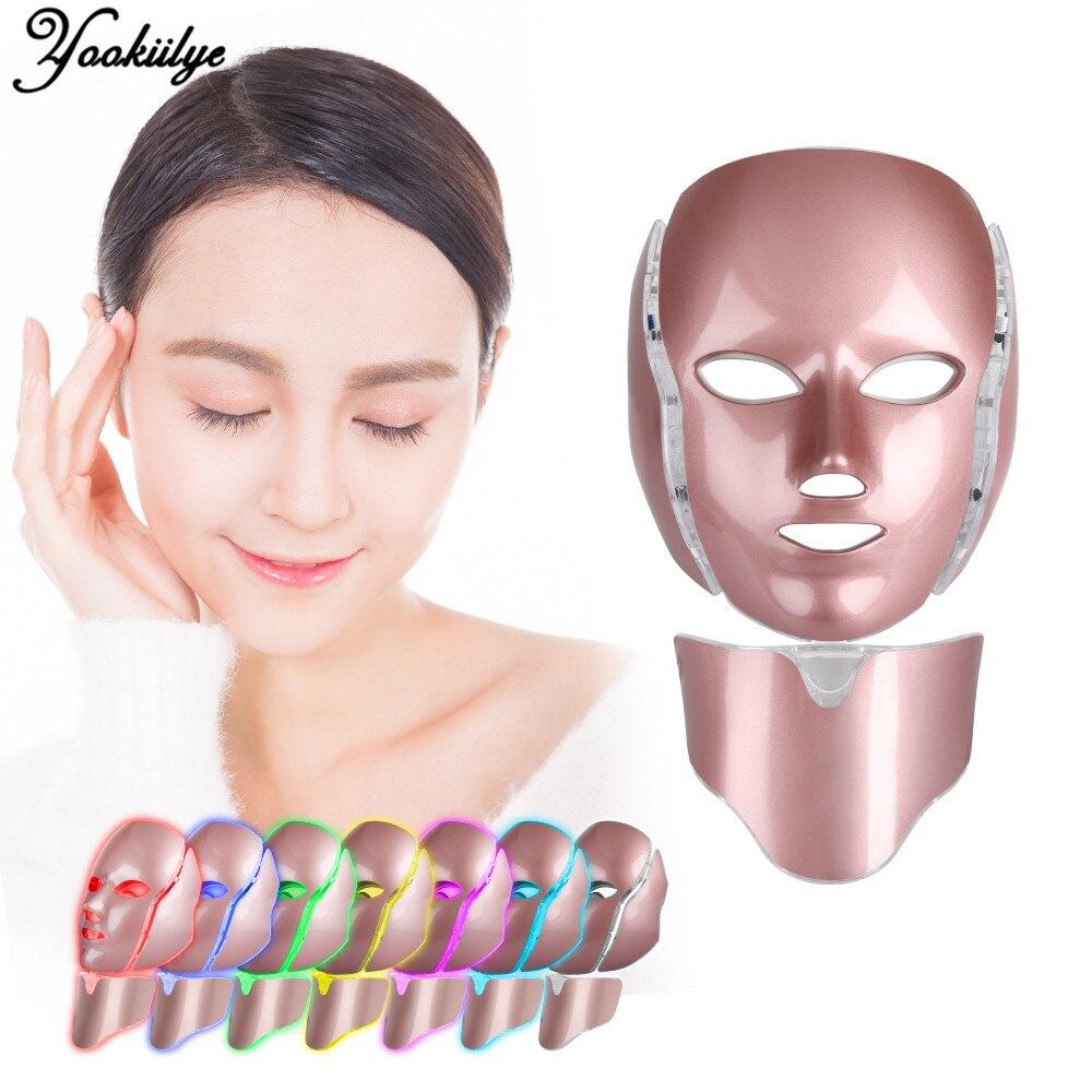 7 ألوان LED قناع الوجه مع الرقبة تجديد الجلد مكافحة againg تبييض الجلد قناع علاج العناية بالوجه الجمال جهاز سبا منزلية