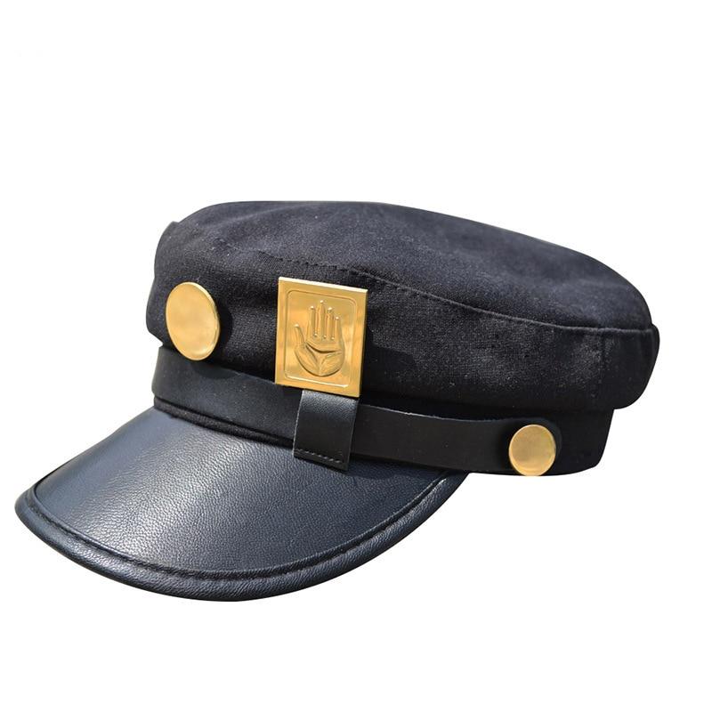 Anime JOJO JoJo's Bizarre Adventure Cosplay Cap Jotaro Kujo Cosplay Accessories Hats Army Military Flatcap Badges Anime Around