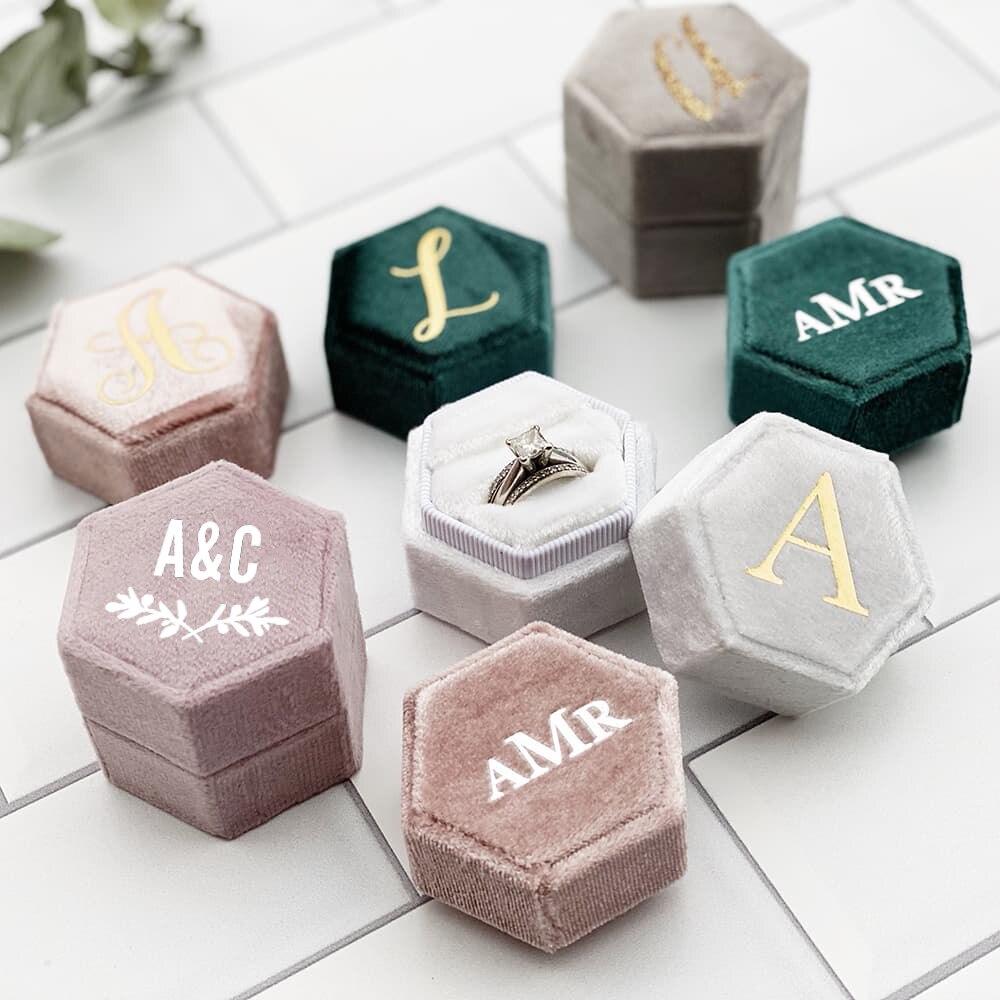 aliexpress.com - Hexagonal Velvet Ring Box Custom Single / Double Slot Engagement Bride Gift Ring Storage Box Wedding Supplies Collection Set