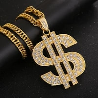 hip hop dollar sign iced out bling alloy gold color pendant necklace chain for men women jewelry