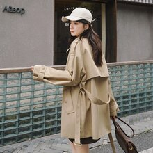 21 Autumn New Products in Stock Back Three Buttons Short Trench Coat Zhejiang Bao