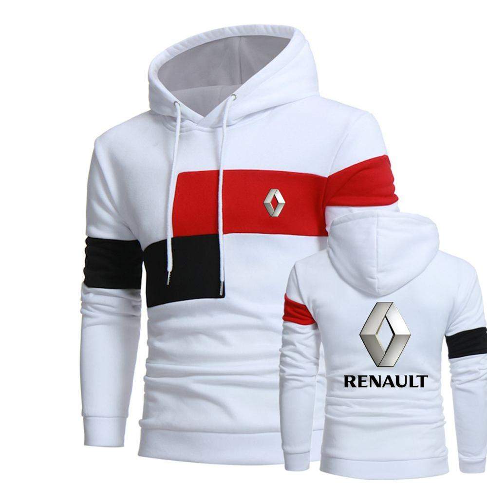 Gran tamaño para chaqueta con capucha hombre Renault cordón Pullover caliente sudaderas con capucha hombre de manga larga bolsillo Hoodie MC abrigo