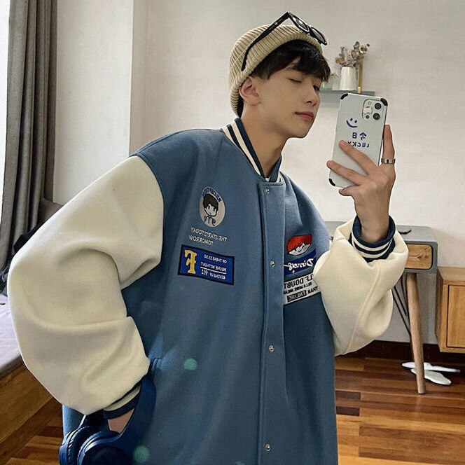 American retro baseball coat men's and women's ins trend students loose Korean version of 2021 spring and autumn new jacket
