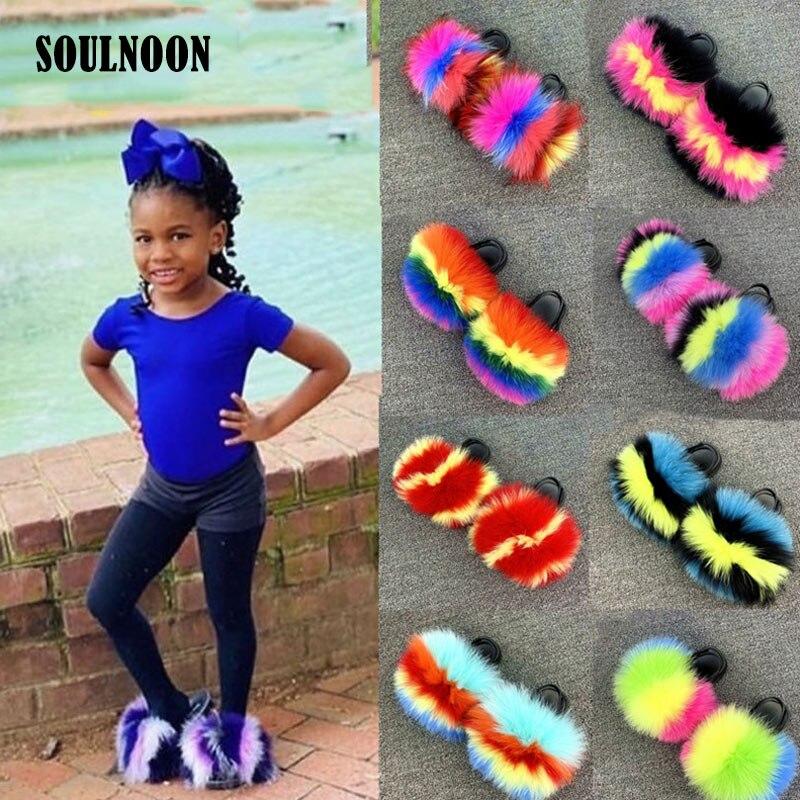 Kids Fluffy Slippers Girls Fur Slides Elastic Strap Children Slippers Indoor Cute Furry Slides Baby