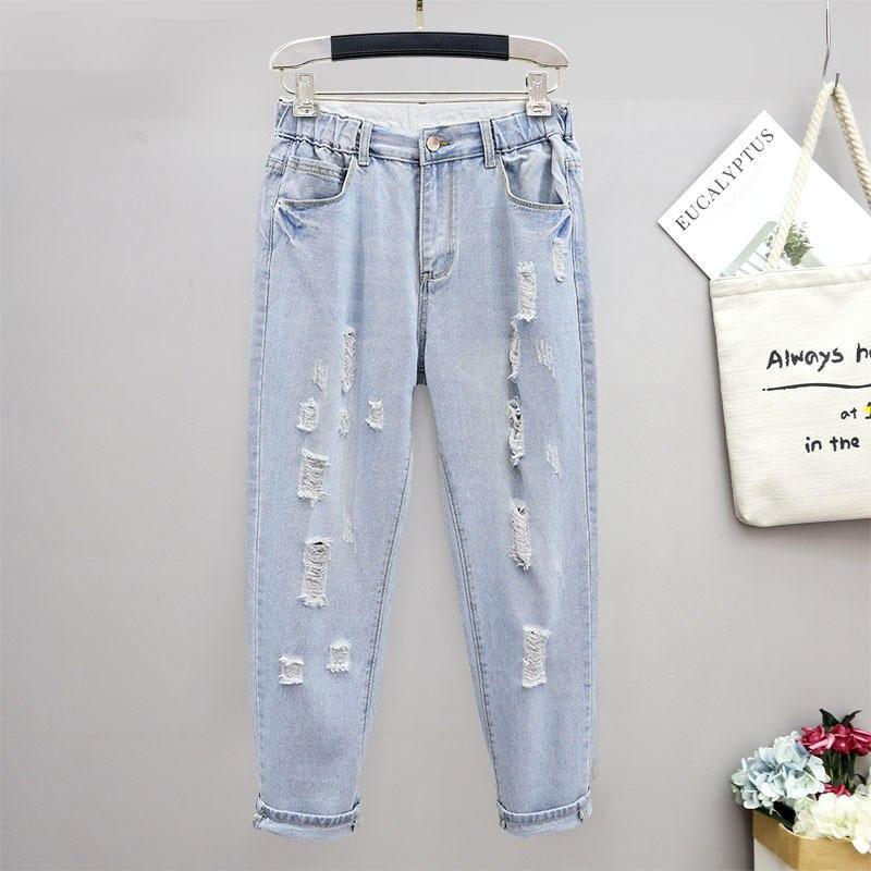 ممزق جينز للنساء فضفاض تمتد الشارع الشهير عالية الخصر سراويل جينز ملابس عتيقة جينز حجم كبير أمي 5XL Q3730