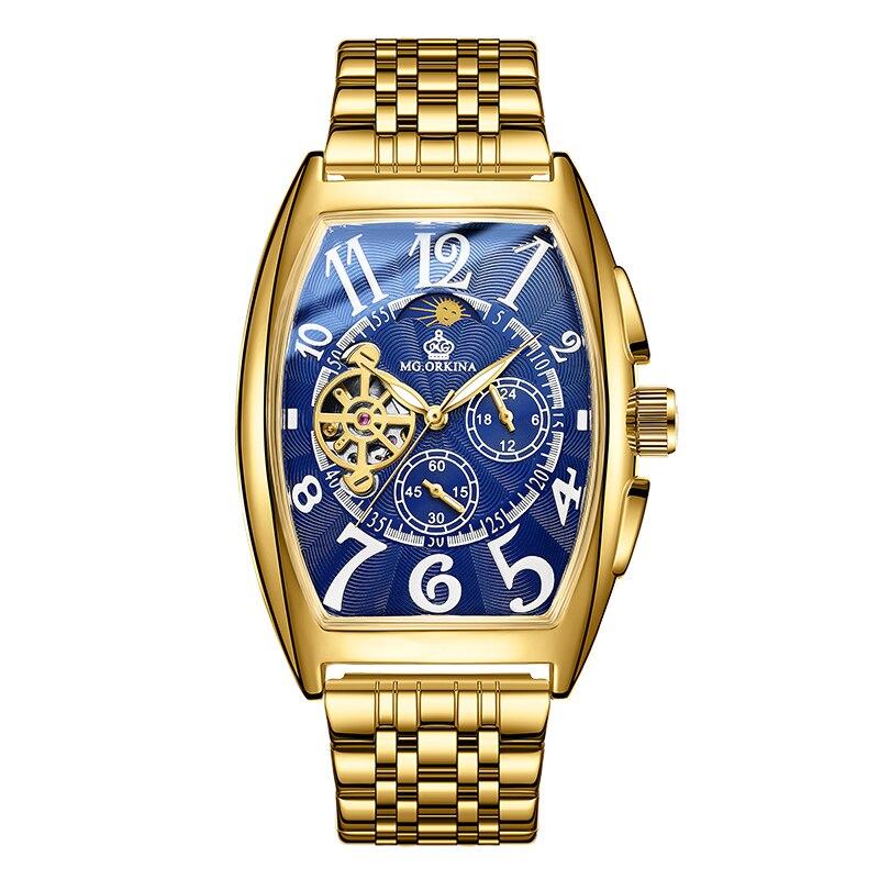 ORKINA Golden Classic Automatic Mechanical Watches Waterproof Men Outdoor Watches Skeleton Rectangle