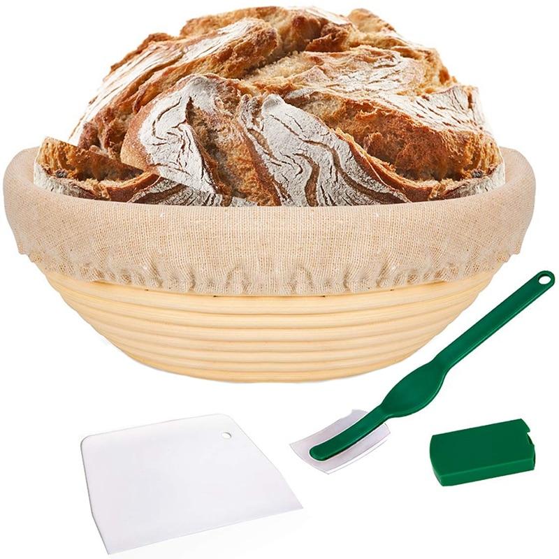 Cesta a prueba de sartenes de 10 pulgadas, cesta de prueba de Banneton, forro de tela, espátula para masa, juego de cesta para pan