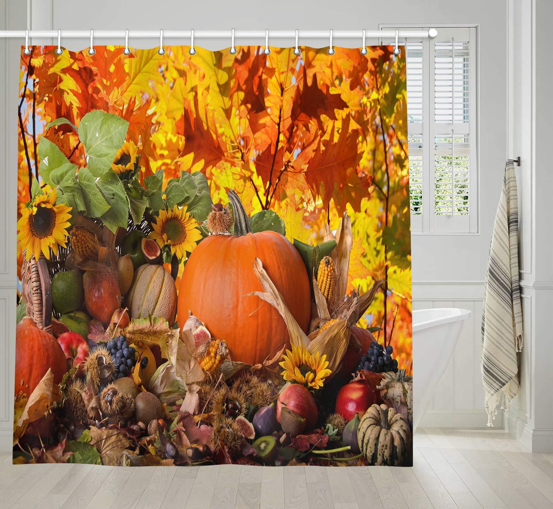 Día de Acción de Gracias cosecha Pastoral estilo calabaza girasoles y maíz bajo las hojas de otoño decoración del baño