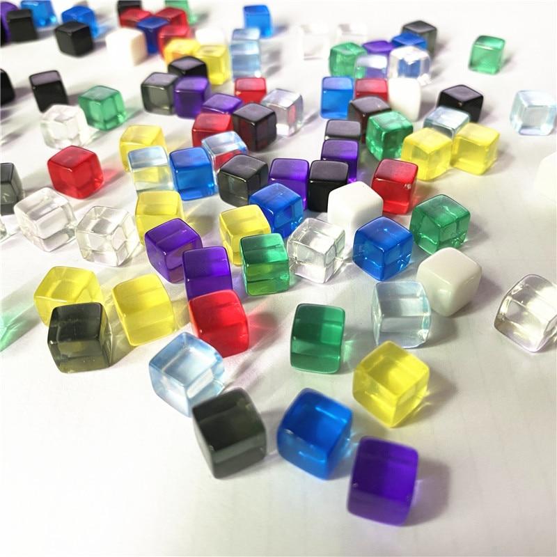 100Pcs/set 10 farben Transparent Grau Platz Ecke Bunte Kristall Würfel Schach Stück Rechten Winkel Sieb Cube Für puzzle Spiel 8mm