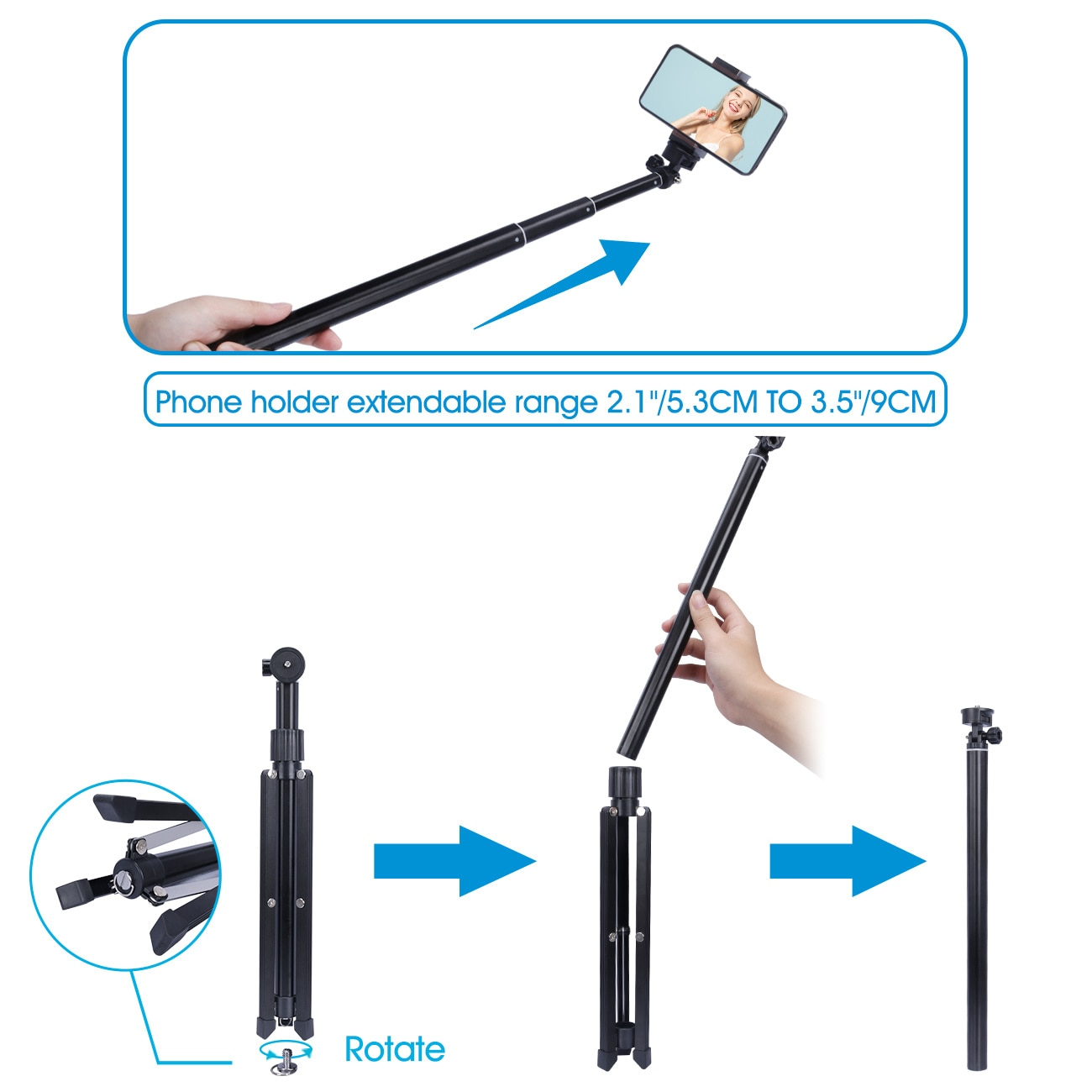 160cm Alloy Portable Phone Tripod Stand, Selfie Tripod Stick with Phone Holder Bluetooth Remote & Gopro Mount for Phone enlarge