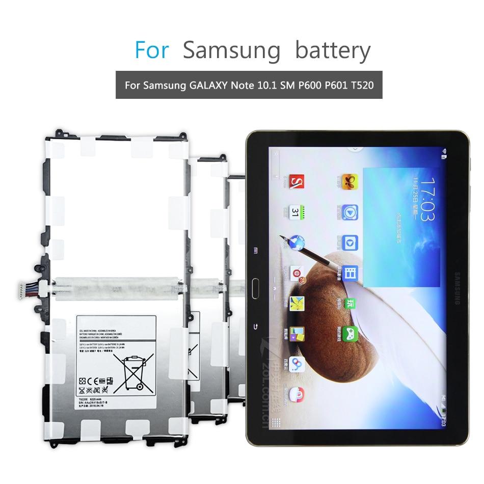 Tablet Li-Polymer Battery For Samsung GALAXY Note 10.1 SM P600 P601 P605 P607 T520 T525 P602 Battery T8220E T8220C 8200mAh