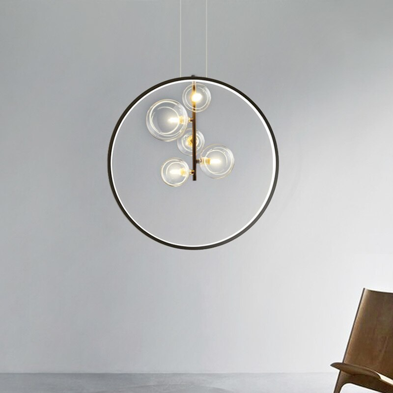 الحديثة قلادة Led أضواء لغرفة الطعام داخلي ديكور المنزل المطبخ تركيبات جولة الأسود نوم شنقا مصباح إضاءة المطعم