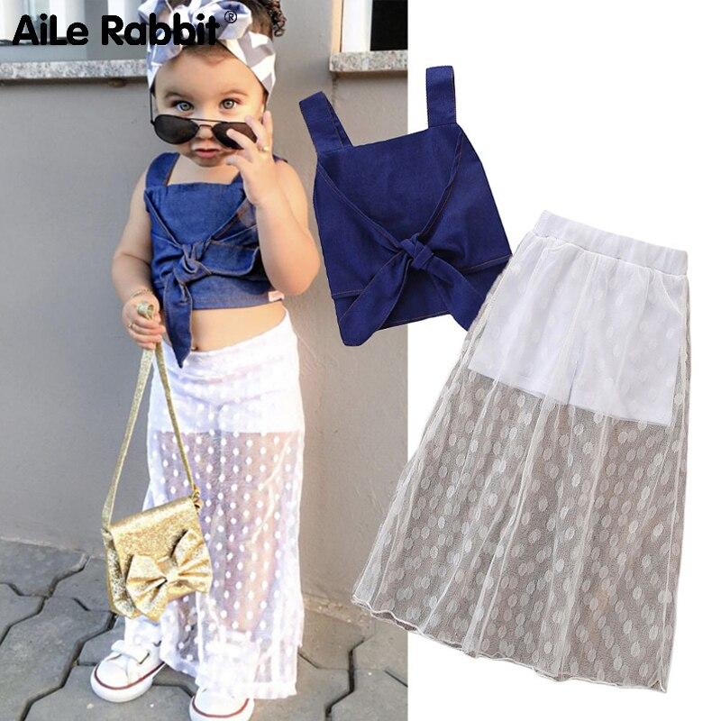 Conjunto de Ropa para Niñas con tirantes de encaje y vestido de mezclilla para niñas