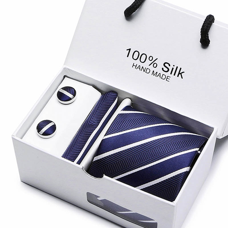 Joy Alice de corbata para hombre, corbata de poliéster hecha a mano, conjunto de corbata para vestido clásico, caja de regalo, color azul sólido, envío gratis