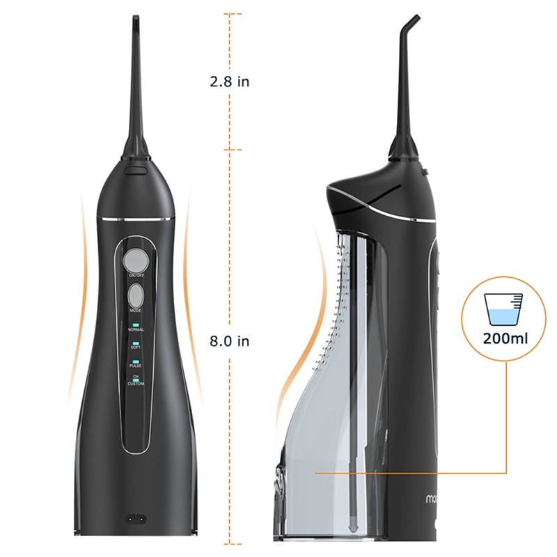 Portable Oral Irrigator with Travel Bag Water Flosser USB Rechargeable 5 Nozzles Water Jet 200ml Tank Waterproof Oral Irrigator enlarge