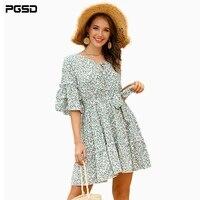pgsd autumn woman dress kawaii fresh casual fashion elegant flower butterfly five points sleeve purple green female clothes