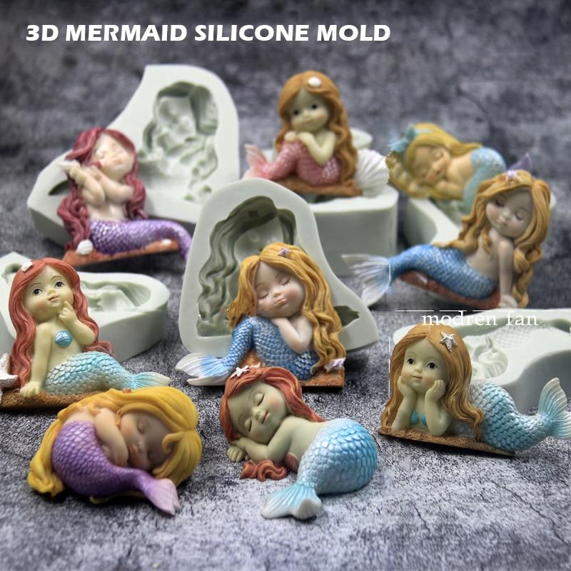 3D Спящая силиконовая Русалка Форма DIY Торт Помадка шоколадная форма для изготовления конфет форма для мыла. Глины для украшения детского торта на день рождения