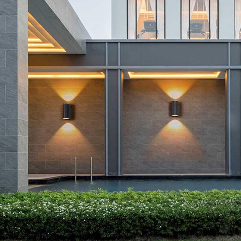 Lámparas de pared de aluminio impermeables para iluminación de exteriores, luces para pasillo, balcón, porche, 6W, color negro