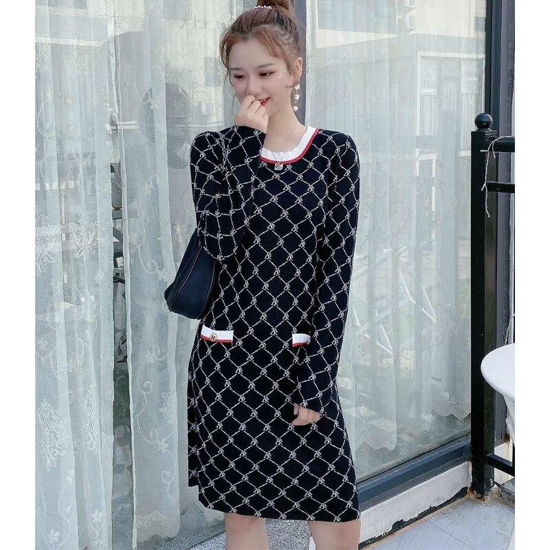 Women Knitted dress Autumn Winter Long Sleeve dress warm dress woman sweaters dress enlarge