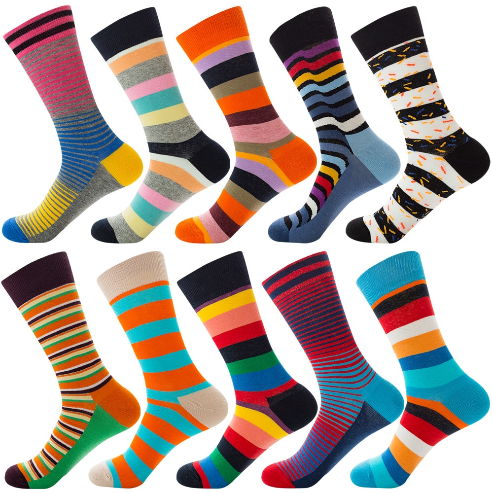 Women And Teenage Girls Over Ankle Combed Cotton Colorful Striped Socks