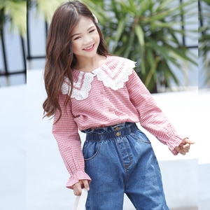 Spring Autumn Big Girls Shirts Cute Long Sleeve Blouses Children Shirt Baby Girl Blouse Kids Clothes Casual School Clothing Fall