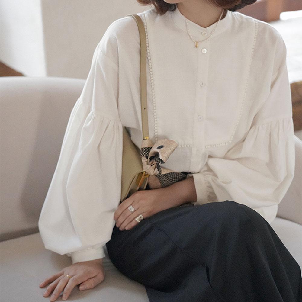 Autumn Women's Blouse Puff Sleeve Women Retro Loose White Long Sleeve Cotton Round Neck Shirt Casual