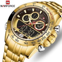 NAVIFORCE Top Brand Luxury Mens Quartz Gold Watches Men Sport Waterproof Man Wristwatch Chronograph
