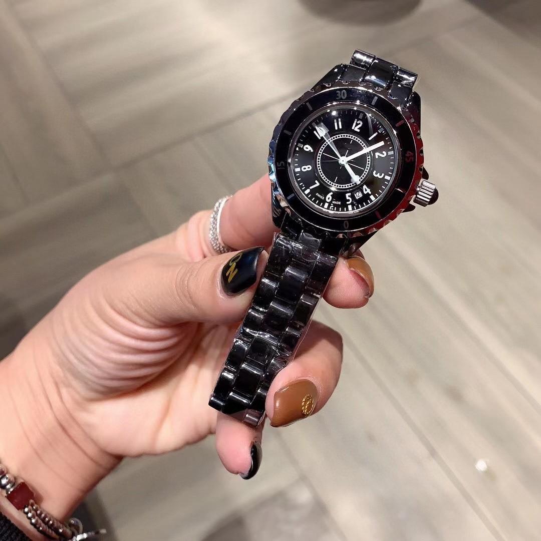 Relojes mujer 2021new luxury men's classic quartz France New Black / white high quality ceramic watch women's diamond expression enlarge