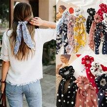 Nouveau femmes ruban fleur Point imprimé chouchous élastique mode bandeaux chapeaux filles élégant cheveux accessoires cheveux gomme