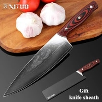 xituo 8 inch full tang kitchen knife japanese vg10 damascus chef knife utility cleaver paring filleting knives dining bar tool