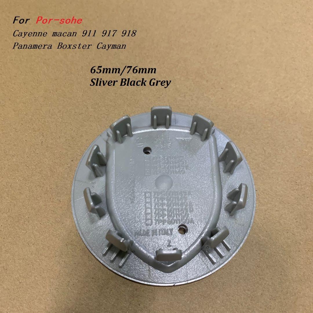 4 Uds. Insignia de cresta de plata y oro 3D de 76MM/65MM para tapacubos centrales de coche emblema para Cayenne Macan Boxster Cayman 911