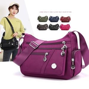 Casual Women Shoulder Messenger Bag Nylon Oxford Lightweight Waterproof Zipper Package Large Capacity Travel Crossbody Bag
