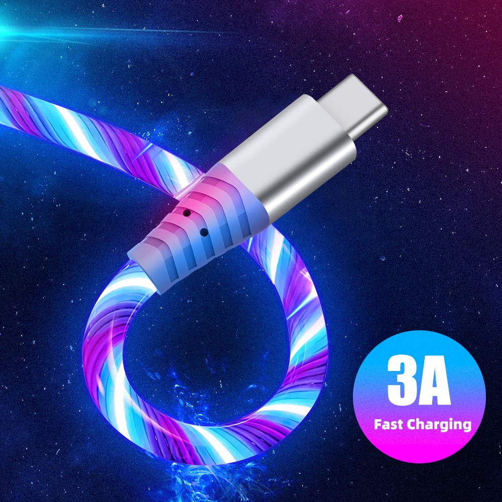 Cable LED brillante 3A Cable De Carga Rápida, Cable Micro USB tipo...
